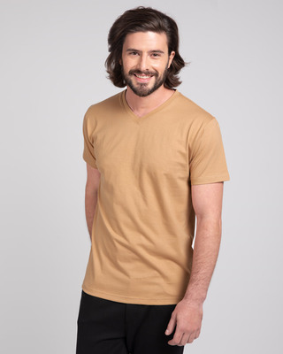 Shop Pastel Beige V-Neck T-Shirt-Front