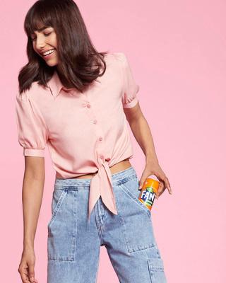 Shop Women's Solid Tie Hem Half Sleeve Casual Pink Shirt-Front