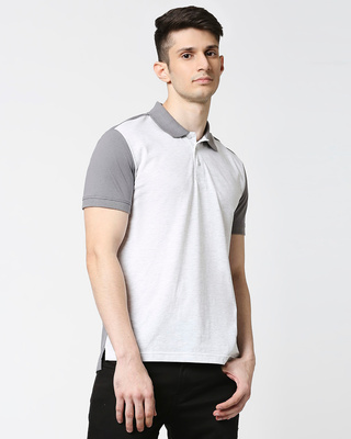 Shop Egret Melange Contrast Shoulder Polo-Front