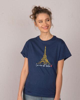 Shop Eiffel Belle Boyfriend T-Shirt (GOLD PRINT)-Front