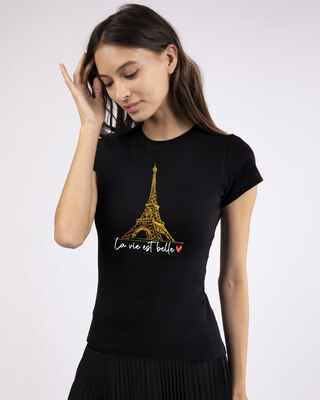Shop Eiffel Belle Half Sleeve T-Shirt (GOLD PRINT)-Front