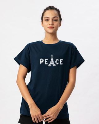 Shop Eiffel Peace Boyfriend T-Shirt-Front
