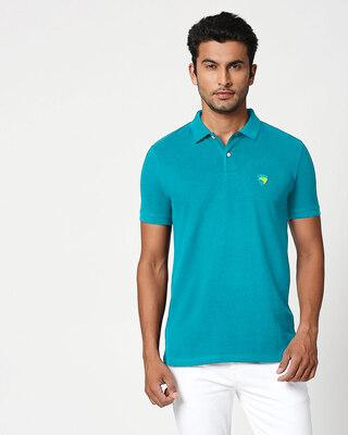 Shop Electric blue-Neon Lime Contrast Collar Pique Polo T-Shirt-Front