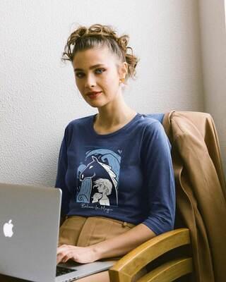 Shop Elsa Believe Round Neck 3/4th Sleeve T-Shirt (DL)-Front
