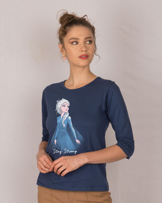 Shop Elsa Stay Strong Round Neck 3/4th Sleeve T-Shirt (DL)-Front