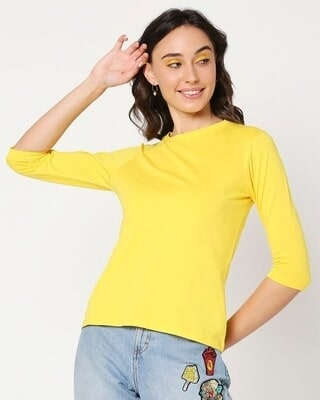 Shop Yolo Yellow 3/4 Sleeve T-Shirt-Front