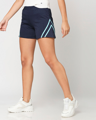 Shop Beach Blue Color Block Short-Front