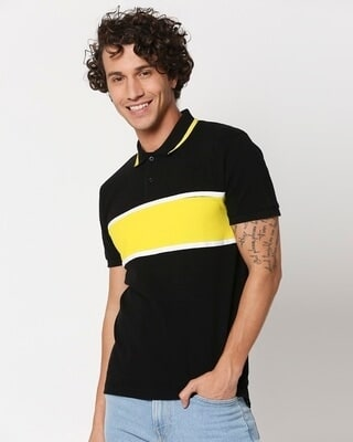 Shop Black Color Block Tipping Polo-Front