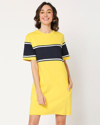 Shop Yolo Yellow Color Block T-Shirt Dress-Front