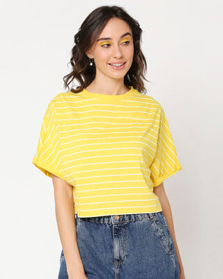 Shop Yolo Yellow Dolman Sleeve T-Shirt-Front