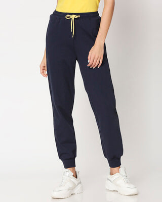 Shop Navy Color Block Joggers-Front