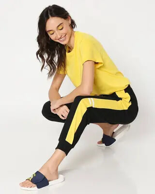 Shop Yolo Yellow Color Block Joggers-Front