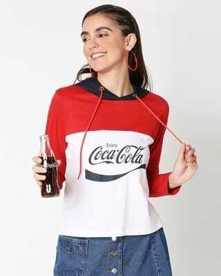 Shop Enjoy Coca-Cola Short Top Hoodie-Front