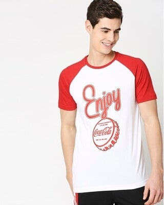 Shop Enjoy Coca Cola Half Sleeves Raglan T-Shirt-Front