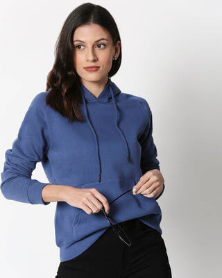 Shop Ensign Blue Basic Hoodie Sweatshirt-Front