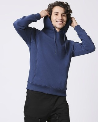 Shop Ensign Blue Stylised Panel Hoodie Sweatshirt-Front