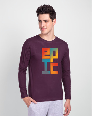Shop EPIC Stack Full Sleeve T-Shirt Deep Purple-Front