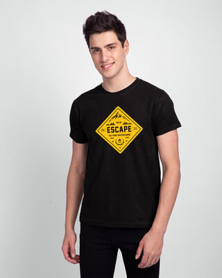 Shop Escape to outdoors Half Sleeve T-Shirt Black-Front