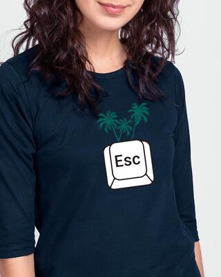 Shop Escape Vacay Round Neck 3/4 Sleeve T-Shirt Navy Blue-Front