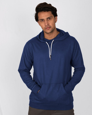 Shop Evening Blue Fleece Hoodies-Front