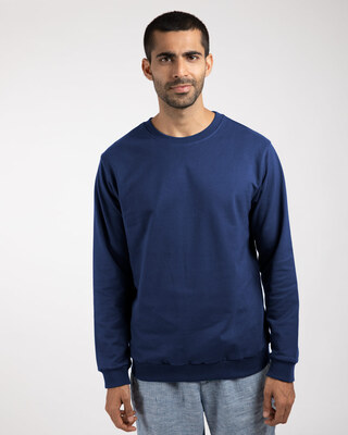 Shop Evening Blue Fleece Sweater-Front