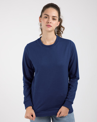 Shop Evening Blue Fleece Light Sweatshirt-Front