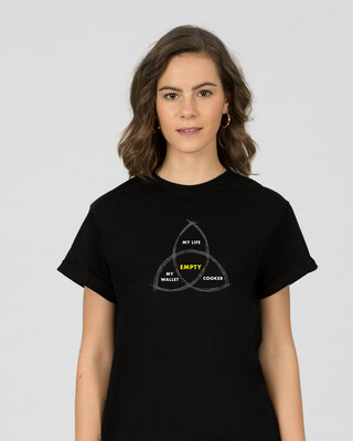Shop Everything's Empty Boyfriend T-Shirt Black-Front