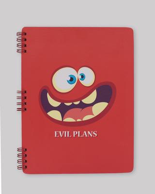 Shop Evil Plans Spiral Notebooks-Front