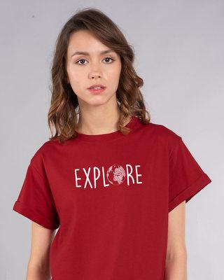 Shop Explore Globe Boyfriend T-Shirt-Front