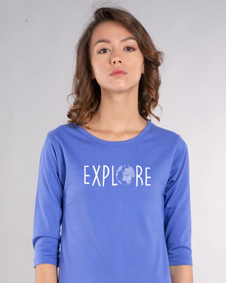 Shop Explore Globe Round Neck 3/4th Sleeve T-Shirt-Front