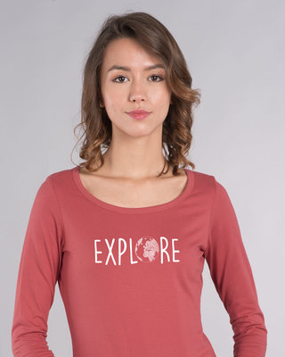 Shop Explore Globe Scoop Neck Full Sleeve T-Shirt-Front