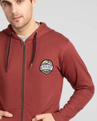 Shop Explore More Badge Zipper Hoodie-Front