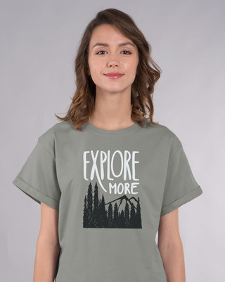 Shop Explore More Mountains Boyfriend T-Shirt-Front