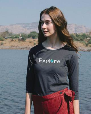 Shop Explore The World Round Neck 3/4th Sleeve T-Shirt-Front