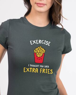 Shop Extra Fries Half Sleeve Printed T-Shirt Nimbus Grey-Front