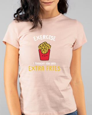 Shop Extra Fries Half Sleeve T-Shirt Baby Pink-Front