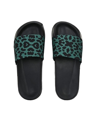 Shop Extrimos Men Green And Black Printed Casual Slider-Front