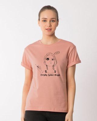 Shop Eyeliner Struggle Boyfriend T-Shirt-Front