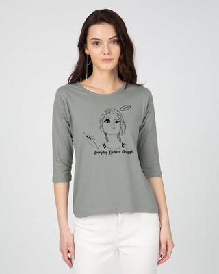 Shop Eyeliner Struggle Round Neck 3/4th Sleeve T-Shirt-Front