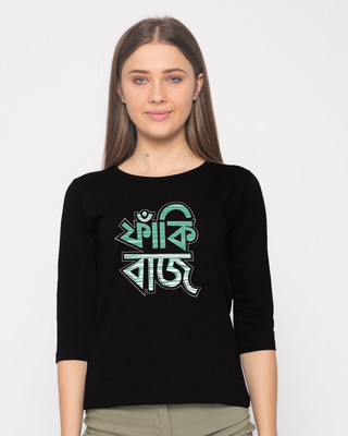 Shop Faakibaaz Round Neck 3/4th Sleeve T-Shirt-Front
