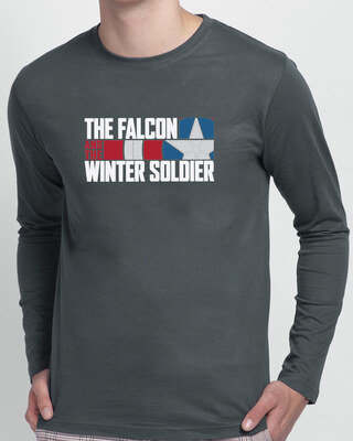 Shop Falcon & The Winter Soldier Full Sleeve T-Shirt Nimbus Grey (FWL)-Front