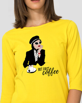 Shop Fashion Coffee Round Neck 3/4 Sleeve T-Shirts Pineapple Yellow-Front
