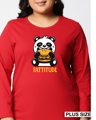 Shop Fatitude Full Sleeve Plus Size T-Shirt-Front