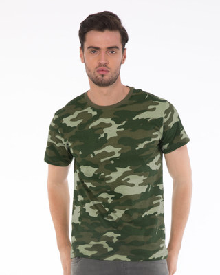 Shop Fauna Green Camouflage Half Sleeve T-Shirt-Front