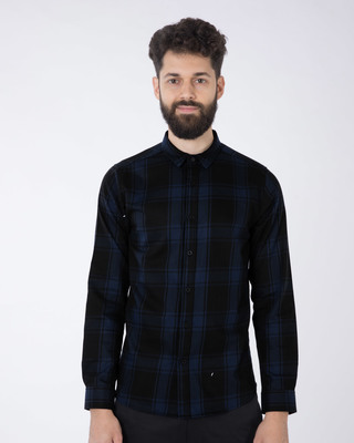 Shop Feather Blue Checked Full Sleeve Shirt-Front