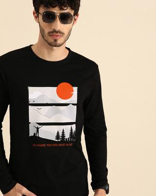 Shop Feel Most Alive Full Sleeve T-Shirt Black-Front