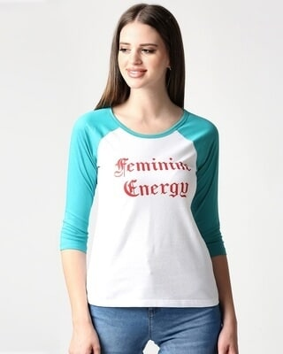 Shop Feminine Energy 3/4th Sleeve Raglan T-Shirt-Front