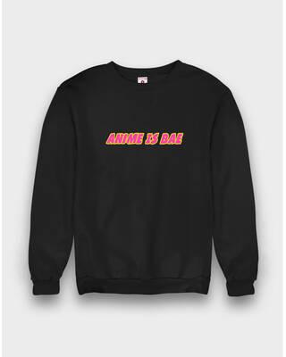 Shop Fighting Fame Anime Is Bae Slogan Black Sweatshirt-Front