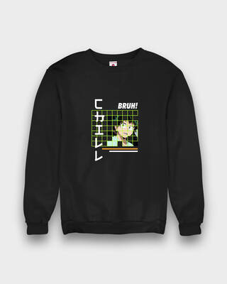 Shop Fighting Fame Chill Bruh Anime Black Sweatshirt-Front