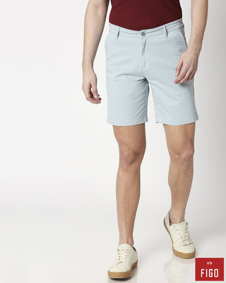 Shop Figo Arctic Blue Men's Chinos Shorts-Front